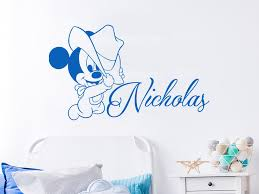 Mickey Mouse Walt Disney Personalised With Any Name Decal Wall Art Sticker