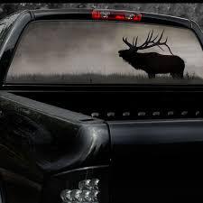 Bugling Elk Full Rear Window Decal Completly See Through Rear Window Decals Window Graphics Rear Window