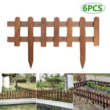 6pcs Wood Picket Garden Fence Rot Proof Diy Garden Lawn Fence Edging Fencing Outdoor Anticorrosive Wooden Fence For Outdoors Fencing Trellis Gates Aliexpress