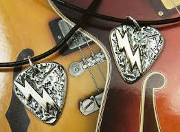 guitar pick necklace sterling silver