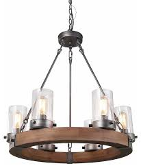 laluz 6 light wood chandeliers rustic