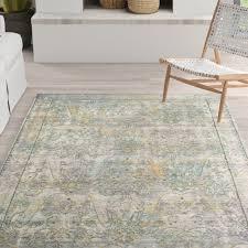oriental gray green yellow area rug