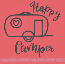 Sale Happy Camper Wall Art Stickers Vinyl Lettering Decals For Rv Accessories 12x12 Chocolate