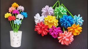 عمل وردة من الورق جميلة صنع زهرة بالورق الملون اشغال يدوية