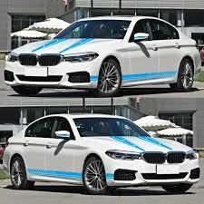 Vova 6pcs Car Side Door Body Hood Rearview Mirror Decal Stripes Sticker Racing Decals