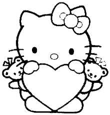Hk Hart Met Beertjes Coloriage Hello Kitty Coloriage Kitty