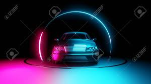 neon light circle frames stock photo