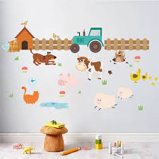 Cartoon Farm Animals Fence Cattle Dog Wall Stickers For Kids Rooms Nursery Room Home Decor Pvc Wall Decals Diy Mural Art Posters Sticker For Kids Room Wall Stickers For Kidswall Sticker Aliexpress