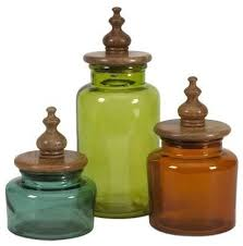 saburo glass and wood lid canisters 3