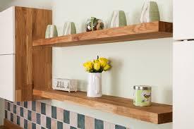 floating shelves in oak kitchens