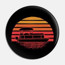 retro vine pontoon boat silhouette