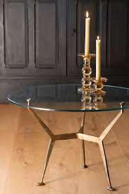 antique brass glass top round coffee