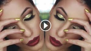 gold glitter cut crease smokey eye