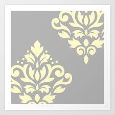 Scroll Damask Art I Yellow On Grey Art Print By Nataliepaskell Society6