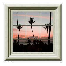 Fake Window View Palm Trees Sunset Beach Wall Decal Zazzle Com