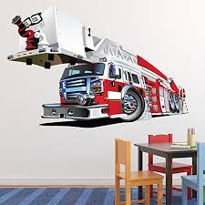 Fire Truck Wall Sticker Red Fire Engine Wall Decal Boys Bedroom Home Decor Available In 8 Sizes Xxx Large Digital Baby B01femkzwq