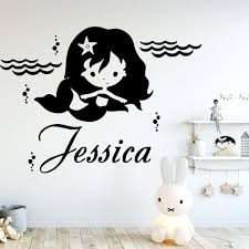 Cartoon Mermaid Customized Name Wall Sticker Vinyl Wall Decor For Kids Rooms Girl S Bedroom Wall Decals Sticker Murals Leather Bag