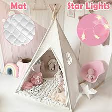 Amazon Com Kids Teepee Tent With Mat Light String Carry Case Kids Foldable Play Tent For Indoor Outdoor Raw White Canvas Teepee Kids Playhouse Portable Kids Tent Toys Games