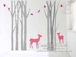 Tree Wall Decals Deer Birds Nature Forest By Cuma Wall Decals On