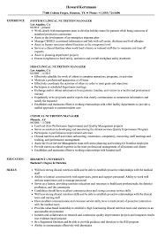clinical nutrition manager resume