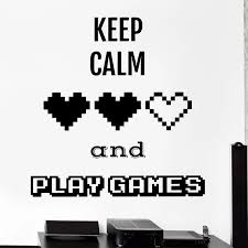 Keep Calm Decal Video Game Controller Sticker Play Decal Gaming Posters Gamer Vinyl Decals Decor Mural Video Game Wall Sticker Video Game Stickers Game Stickervinyl Wall Decals Aliexpress