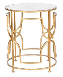 lenora gold leaf round side table