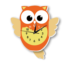 Lovely Cartoon Owl Pendulum Clock Wall Stickers Fancy Watch Creative Baby Children Gift For Kid Room Nursery Hanging Clock Decal