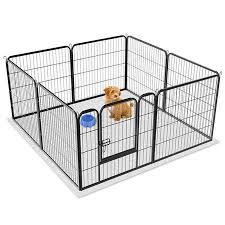 Topeakmart 8 Panel Dog Playpen Puppy Cat Exercise Barrier Fence Black Walmart Com Dog Playpen Dog Playpen Indoor Cat Exercise