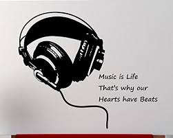 Amazon Com Headphone Wall Decal Vinyl Art Music Is Life Home Decor Music Sounds Beats Sticker Music Wall Decal Wall Stickers Bedroom Music Wall