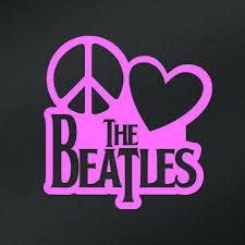 Peace Love The Beatles Vinyl Decal Sticker Cars Trucks Vans Walls Laptops Cups Pink 6 X 5 8 Inch Kcd1635p Walmart Com Walmart Com