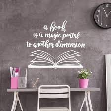 Amazon Com Stizzy Wall Decal Library Quotes Book Is A Magic Portal Vinyl Wall Stickers Creative Classroom Decoration Home Kitchen