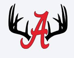 Alabama A With Deer Horns Decal Clip Art Library