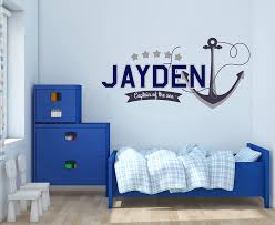Amazon Com Custom Name Anchor And Stars Nautical Theme Baby Boy Nursery Wall Decal For Baby Rom Decorations Mural Wall Decal Sticker For Home Children S Bedroom R45 Wide 22 X11