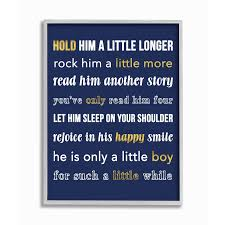 Shop The Kids Room By Stupell Hold Him A Little Longer Navy Grey Framed 16 X 20 Proudly Made In Usa 16 X 20 Free Shipping Today Overstock 30334813