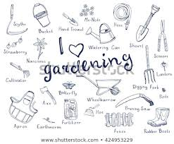 garden tools drawing with names