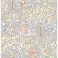shiloh light grey botanical wallpaper