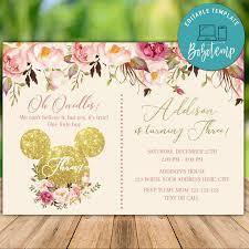 Invitaciones De Cumpleanos De Mickey Mouse Rosa Brillo Imprimible