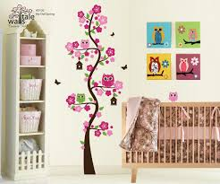 Tree Blossom With 4 Owls For Nursery Over The Crib From Corner