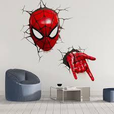 Super Hero 3d Spider Man Broken Wall Mural Vinyl Wall Decal Sticker Kids Room Decor Wish