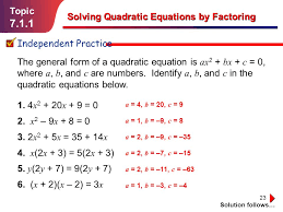 equations by factoring ppt