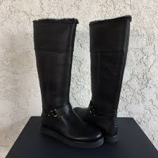 brooks tall black suede leather boots