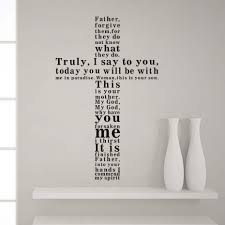 Father Forgive Them Shaped Cross Bible Verse Vinyl Wall Decal Self Adhesive