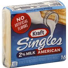 kraft singles cheese slices 2 milk