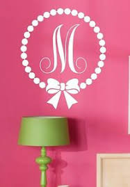 Wall Decal Monogram Polka Dot With Bow Personalized Custom Initial Girls Room Ebay