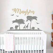 Amazon Com Personalized Safari Nursery Wall Decal Name Wall Vinyl Sticker Nursery Baby Name Wall Decal Nature Wall Decal African Nursery Decor F59 Handmade