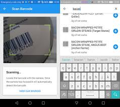 barcode scanning and food database in