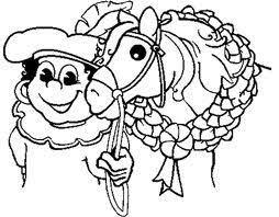 Kleurplaat Zwarte Piet Met Het Paard Van Sinterklaas Kleurplaten