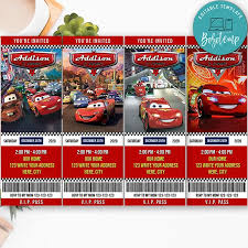 Imprimible Disney Cars 3 Invitaciones De Entradas Descarga