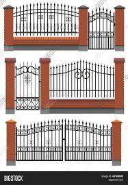 Gate Fences Brick Vector Photo Free Trial Bigstock