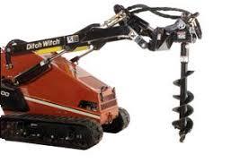 Lewis Equipment Post Hole Auger Mini Track Skid Steer
